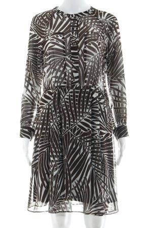 Zara Basic Langarmkleid taupe-weiß Mustermix schlichter Stil