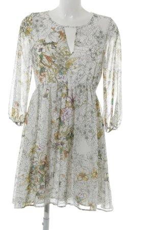Zara Basic Langarmkleid weiß-olivgrün Blumenmuster Romantik-Look