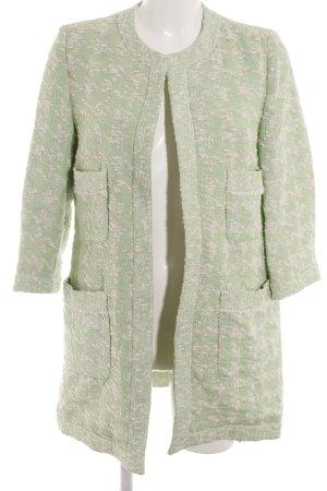 Zara Basic Lange Jacke blassgrün-wollweiß Webmuster Casual-Look