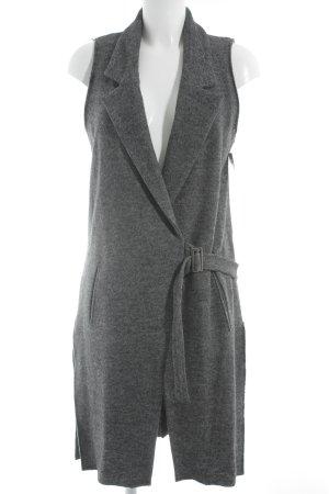Zara Basic Lange Jacke dunkelgrau meliert Casual-Look
