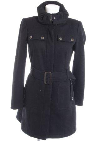 Zara Basic Lange Jacke schwarz Romantik-Look