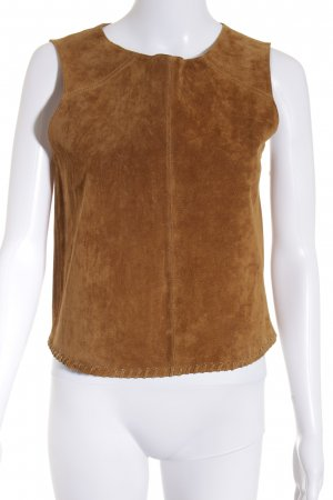 Zara Basic Leather Blouse light brown simple style