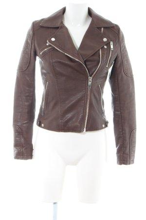 Zara Basic Lederjacke braun Casual-Look