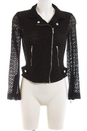 Zara Basic Lederjacke schwarz grafisches Muster Elegant