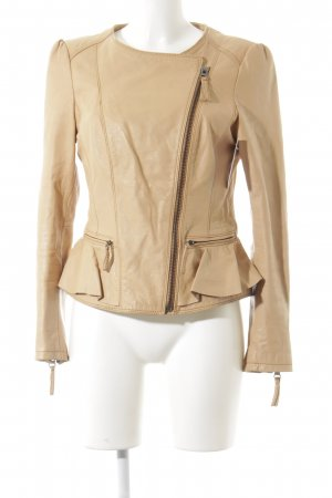 Zara Basic Lederjacke beige Casual-Look