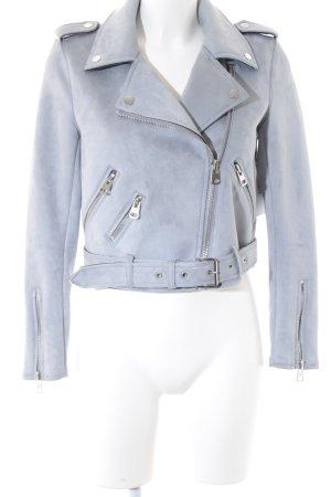 Zara Basic Lederjacke blassblau Elegant