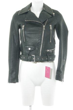 Zara Basic Veste en cuir vert foncé Look de motard
