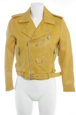 Zara Basic Lederjacke goldorange Biker-Look