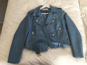 Zara Basic Lederjacke in blau