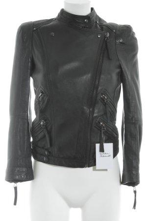 Zara Basic Lederjacke schwarz Biker-Look