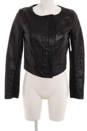 Zara Basic Veste en cuir noir Look de motard