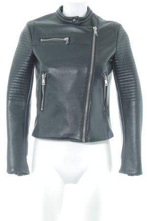 Zara Basic Leren jack zwart casual uitstraling
