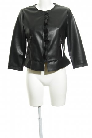 Zara Basic Lederjacke schwarz Rockabilly-Look