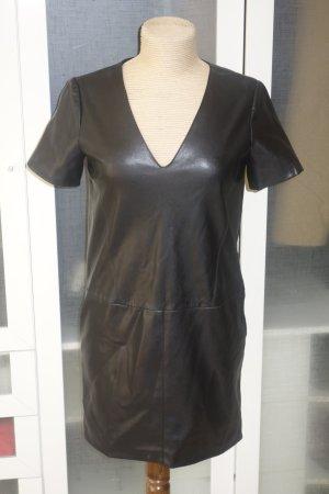 ZARA Basic Lederkleid Kunstleder in schwarz Gr.S