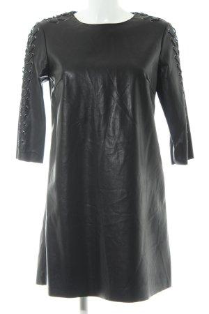 Zara Basic Lederkleid schwarz extravaganter Stil