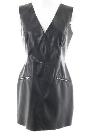 Zara Basic Lederkleid schwarz-silberfarben Casual-Look