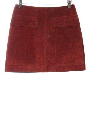 Zara Basic Leren rok donkerrood simpele stijl