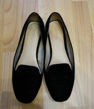 Zara Basic Loafer Flats Ballerinas Gr. 39 Velvet schwarz Schuhe Blogger