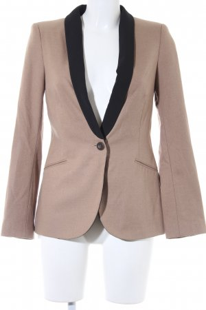 Zara Basic Long-Blazer beige-schwarz Casual-Look