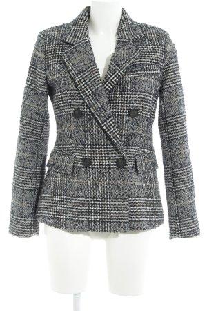 Zara Basic Long-Blazer dunkelblau Hahnentrittmuster Brit-Look