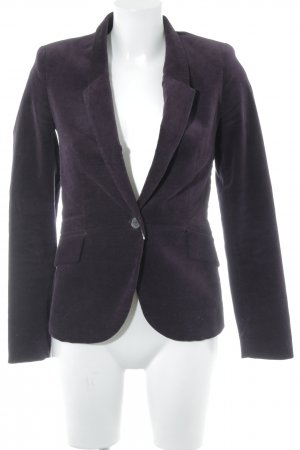 Zara Basic Long-Blazer dunkelviolett Samt-Optik