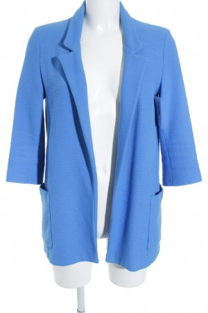 Zara Basic Long-Blazer neonblau-weiß Webmuster Business-Look
