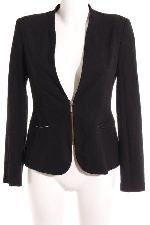 Zara Basic Long-Blazer schwarz-goldfarben Elegant