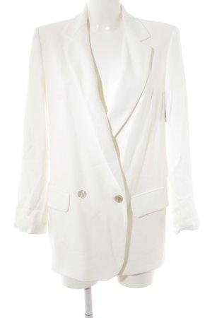 Zara Basic Long-Blazer weiß Business-Look