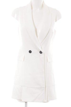 Zara Basic Long-Blazer wollweiß Casual-Look