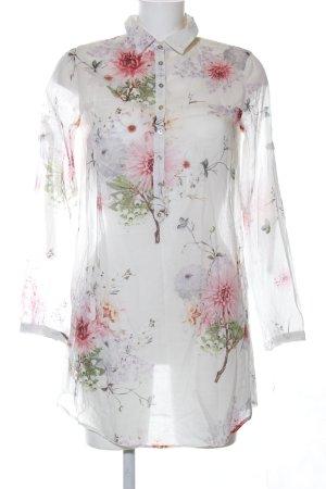 Zara Basic Long-Bluse Blumenmuster Casual-Look