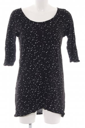 Zara Basic Longshirt schwarz-weiß grafisches Muster Casual-Look