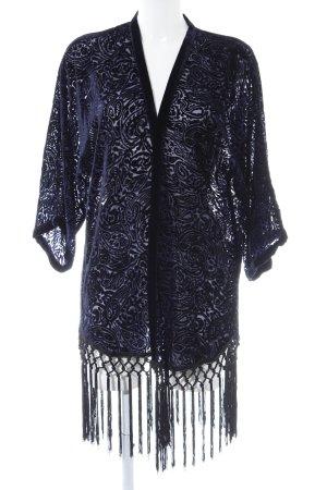 Zara Basic Lang gebreid vest donkerblauw verfraaid patroon casual uitstraling