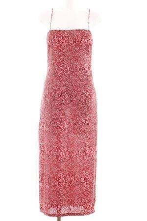 Zara Basic Maxikleid rot-wollweiß Allover-Druck Casual-Look