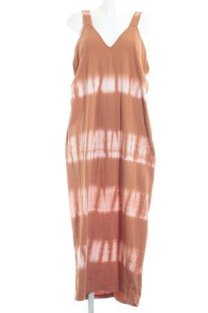 Zara Basic Maxikleid apricot-weiß Batikmuster Beach-Look