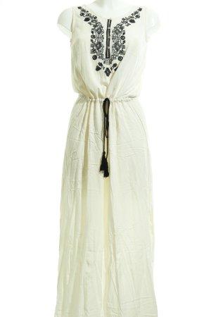 Zara Basic Maxikleid creme-schwarz Casual-Look