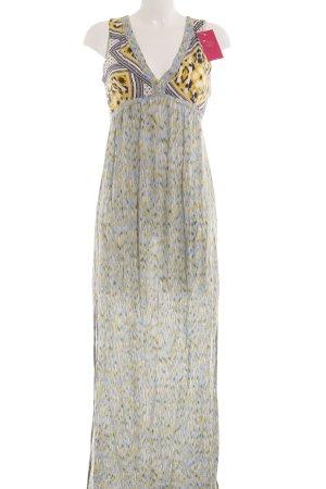 Zara Basic Maxikleid dunkelgelb-himmelblau Mustermix Casual-Look