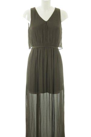 Zara Basic Maxikleid dunkelgrün-khaki Casual-Look