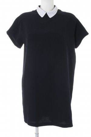 Zara Basic Midikleid dunkelblau-weiß Casual-Look