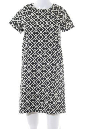 Zara Basic Midikleid schwarz-weiß grafisches Muster Business-Look
