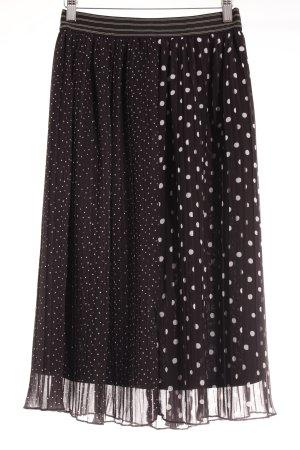 Zara Basic Midirock schwarz-weiß Punktemuster Casual-Look