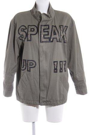 Zara Basic Militaryjacke khaki Schriftzug gedruckt Casual-Look