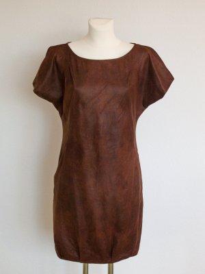Zara Basic Minikleid aus Waschleder in Braun Gr. S