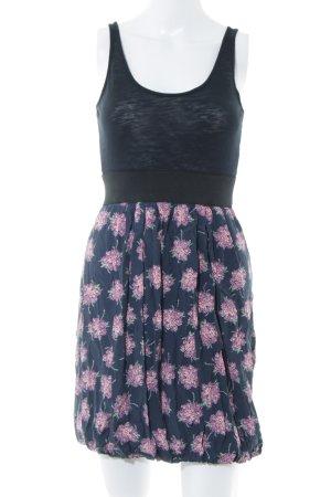 Zara Basic Minikleid schwarz-lila Blumenmuster Casual-Look