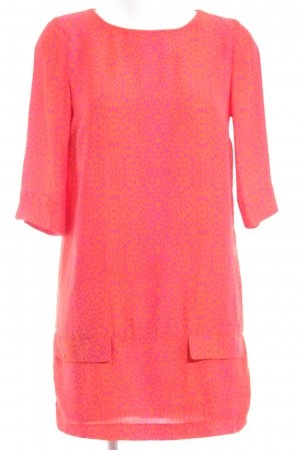 Zara Basic Minikleid neonorange-pink Farbtupfermuster extravaganter Stil