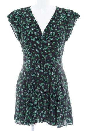 Zara Basic Minikleid schwarz-grün Blumenmuster Romantik-Look
