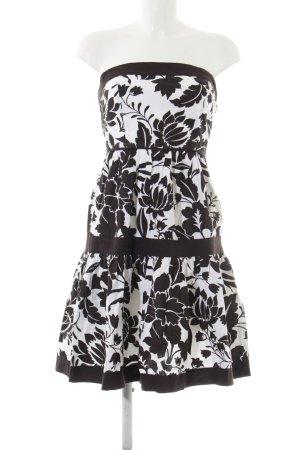 Zara Basic Minikleid schwarz-wollweiß Blumenmuster Elegant