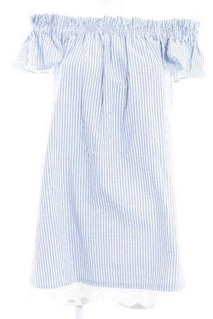 Zara Basic Minikleid weiß-himmelblau Streifenmuster Romantik-Look