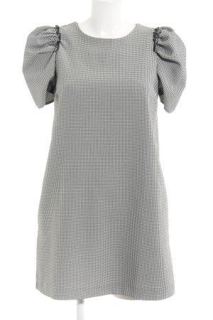 Zara Basic Minikleid weiß-schwarz Hahnentrittmuster Elegant