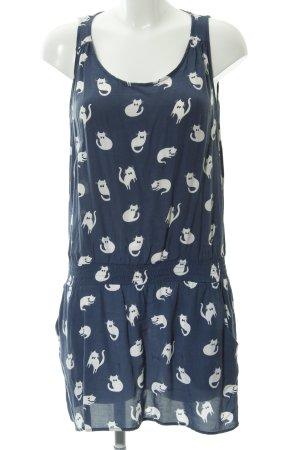Zara Basic Minikleid weiß-stahlblau Mustermix Casual-Look