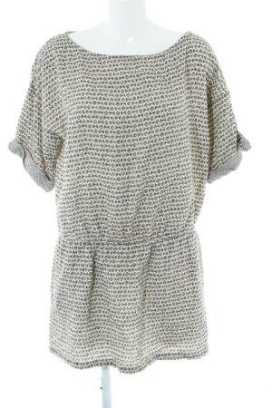 Zara Basic Minikleid wollweiß-schwarz abstraktes Muster Casual-Look